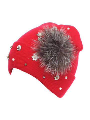 H138-RED#red Fur Flower Snowflake Glitz Roll Up Beanie