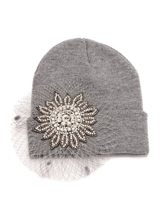 H139-GRAY#Gray Crystal Rhinestone Flower Mesh Roll Up Beanie