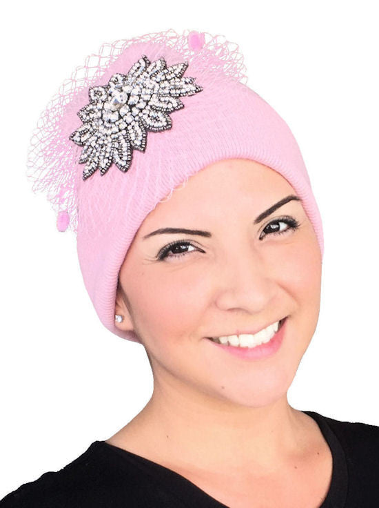 H139-PINK#Pink Crystal Rhinestone Flower Mesh Roll Up Beanie