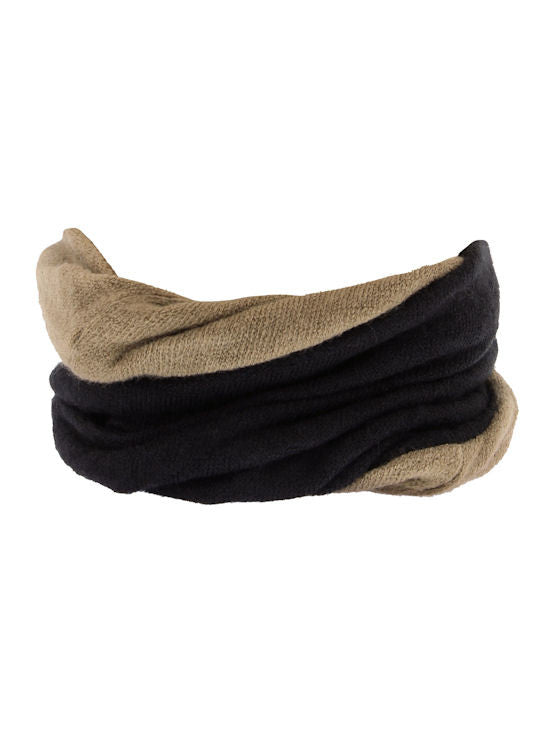 H143-BLACKCAMEL#Black Camel Reversible Multi Use Twist Beanie Neck Warmer