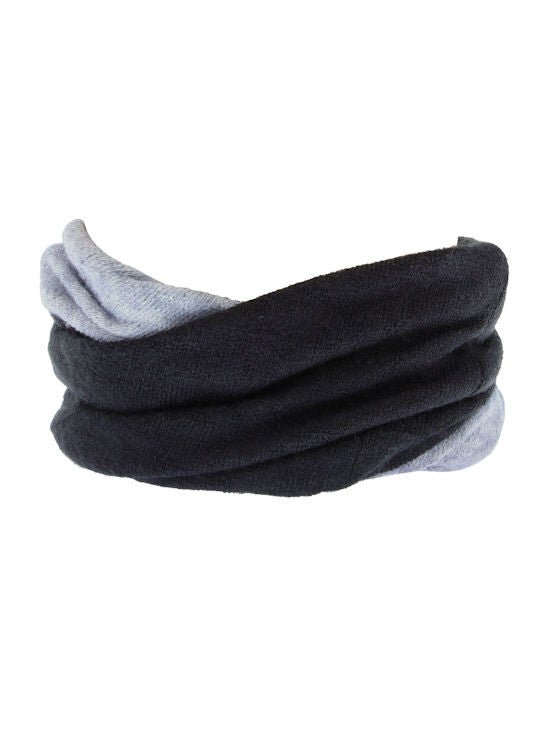 H143-BLACKGRAY#Black Gray Reversible Multi Use Twist Beanie Neck Warmer
