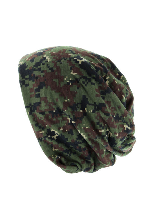 H143-CAMOOLIVE#Camo Olive Reversible Multi Use Twist Beanie Neck Warmer