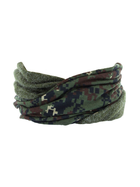 be22548a9d1 ... H143-CAMOOLIVE Camo Olive Reversible Multi Use Twist Beanie Neck Warmer