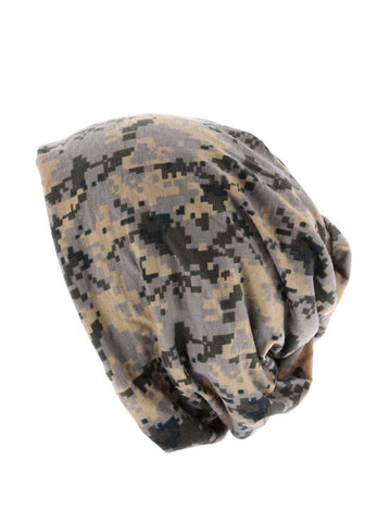 H143-CAMOTAUPE#Camo Taupe Reversible Multi Use Twist Beanie Neck Warmer