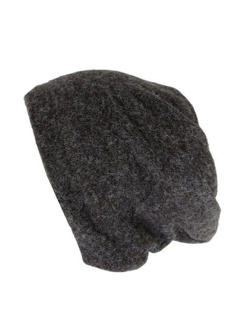 H143-CHARCOALBURNT#Charcoal Burnt Reversible Multi Use Twist Beanie Neck Warmer