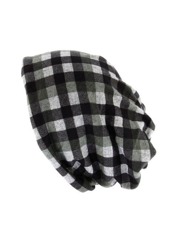 H143-CHECKBLACK#Checkered Black Reversible Multi Use Twist Beanie Neck Warmer