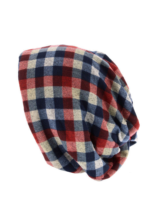 H143-CHECKRED#Checkered Red Reversible Multi Use Twist Beanie Neck Warmer