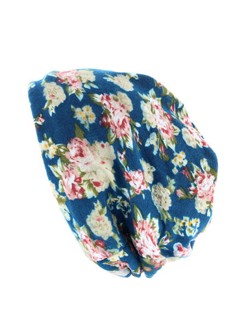 H143-FLORALTEAL#Floral Teal Reversible Multi Use Twist Beanie Neck Warmer
