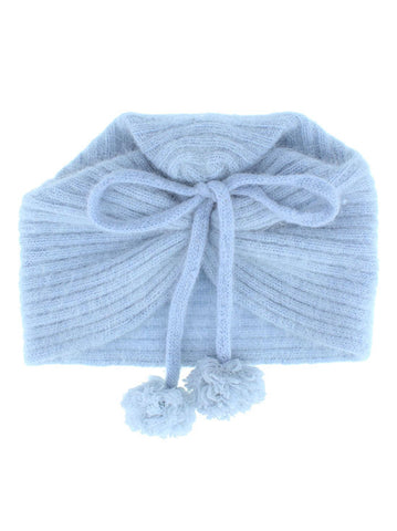 H144-LTBLUE#Light Blue Angora Ribbed Bow Tie Pom Pom Beanie
