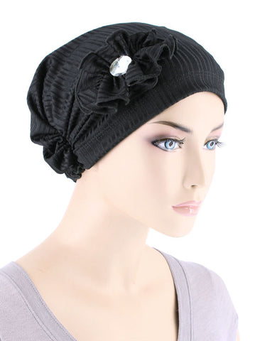 JOSIE-RIBBEDBLACK#Josie Turban Ribbed Black
