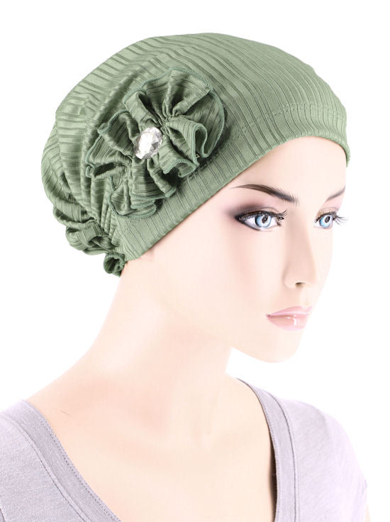 JOSIE-RIBBEDSAGEGREEN#Josie Turban Ribbed Sage Green