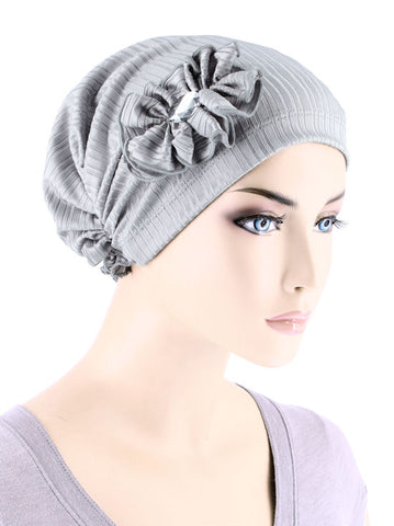 JOSIE-RIBBEDSILVERGRAY#Josie Turban Ribbed Silver Gray