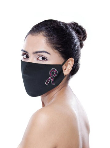 FACEMASK-PR#Pink Ribbon Face Mask with Filter, Pocket, Reusable