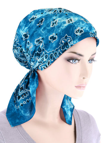 CE-BDNASCARF-TIEDYETURQUOISE#Bandana Scarf in Tie-Dye Turquoise