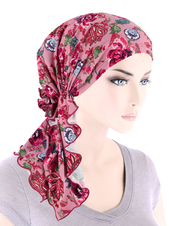 BELLA-803#The Bella Scarf Raspberry Floral