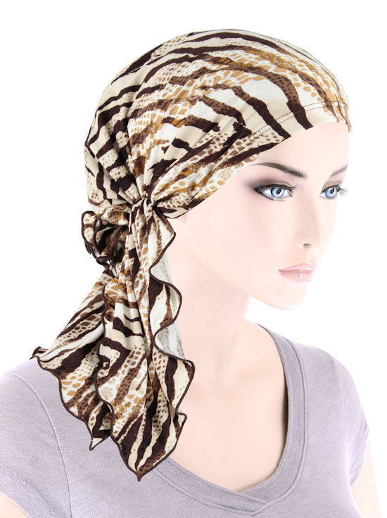 BELLA-805#The Bella Scarf Ivory Tan Animal