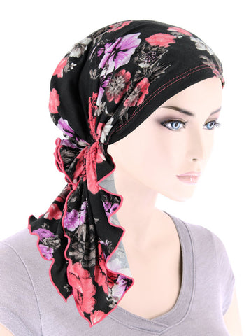 BELLA-807#The Bella Scarf Coral Lilac Floral