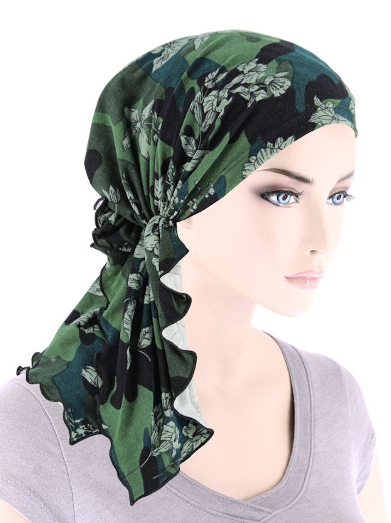 BELLA-808#The Bella Scarf Olive Camo Floral