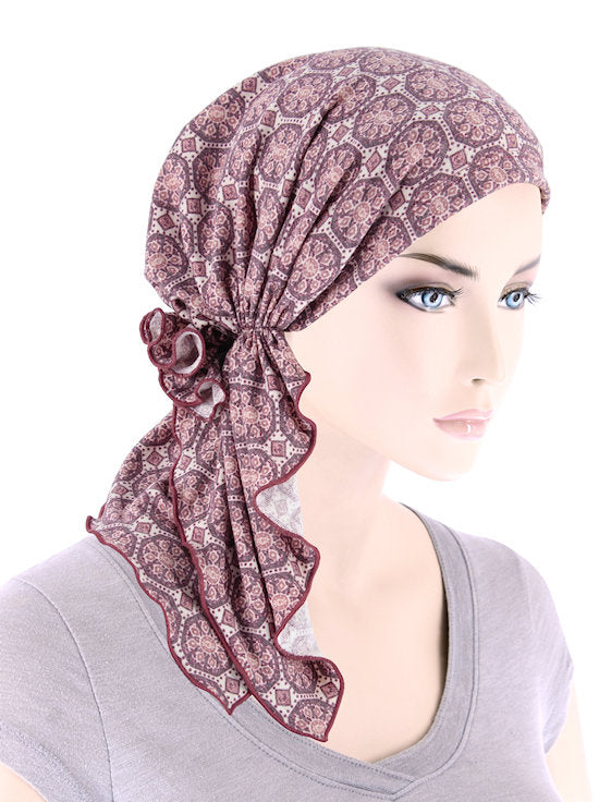 BELLA-810#The Bella Scarf Dusty Pink Medallion