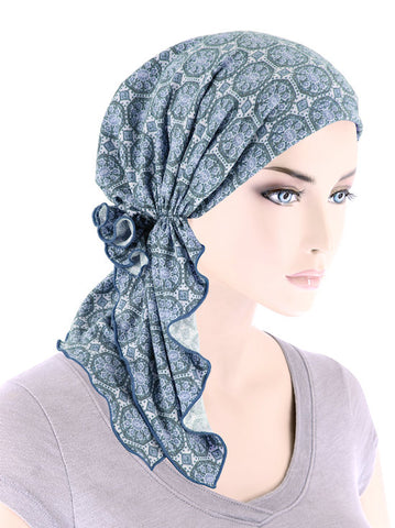 BELLA-811#The Bella Scarf Dusty Blue Medallion