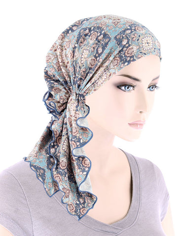 BELLA-812#The Bella Scarf Blue Fleur Paisley