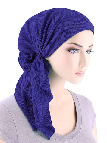 BELLA-689#The Bella Scarf Plisse Royal Blue