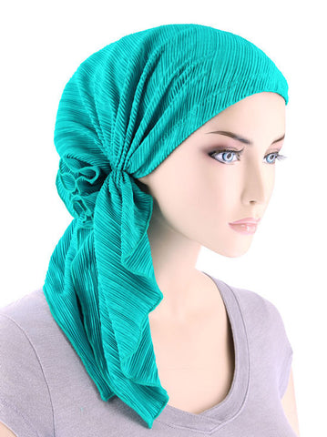 BELLA-690#The Bella Scarf Plisse Turquoise