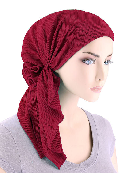BELLA-692#The Bella Scarf Plisse Red