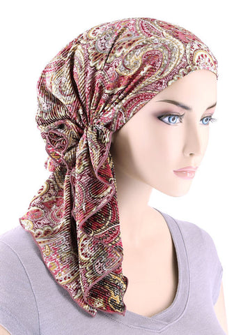 BELLA-694#The Bella Scarf Plisse Rose Paisley Floral