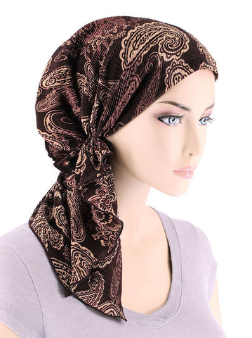 BELLA-711#The Bella Scarf Plisse Brown Floral Paisley Swirl