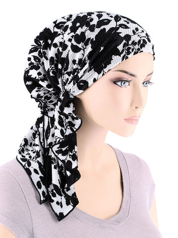 BELLA-712#The Bella Scarf Plisse Black White Floral