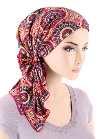 BELLA-717#The Bella Scarf Hot Pink Mandala