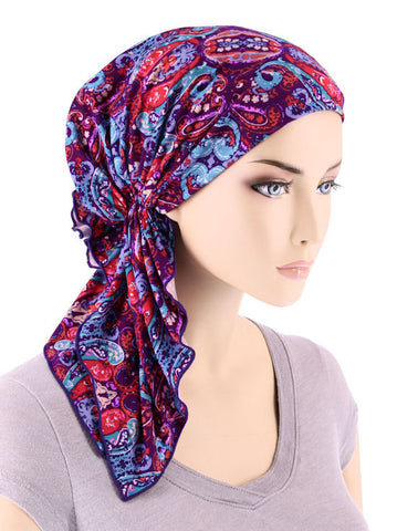 BELLA-718#The Bella Scarf Purple Modern Damask
