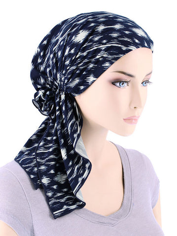 BELLA-720#The Bella Scarf Navy Blue Abstract Ikat
