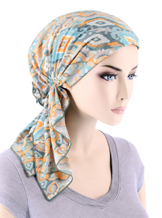 BELLA-721#The Bella Scarf Sea Foam Abstract Ikat