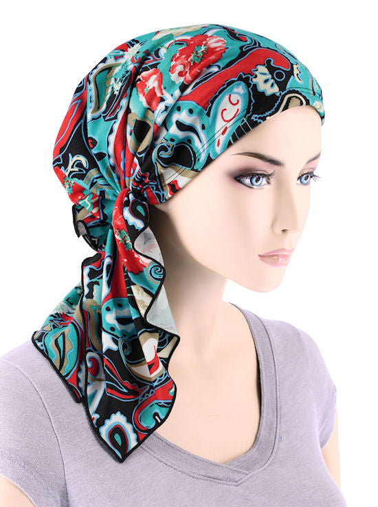 BELLA-722#The Bella Scarf Turquoise Red Paisley Floral