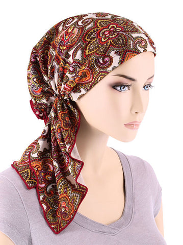 BELLA-723#The Bella Scarf Red Gold Latika Paisley Print
