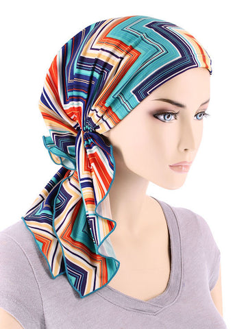 BELLA-726#The Bella Scarf Chevron Atlantic Blue
