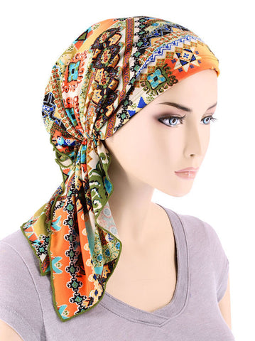 BELLA-728#The Bella Scarf Green Coral Tribal Patchwork