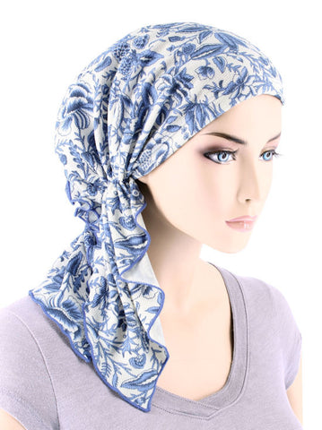 BELLA-729#The Bella Scarf Hampton Blue Paisley