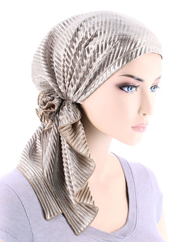 BELLA-739#The Bella Scarf Plisse Metallic Silver Beige