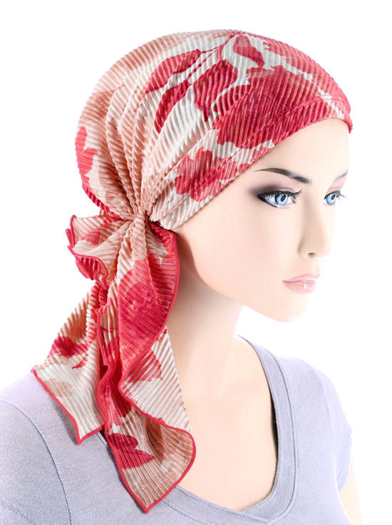 BELLA-741#The Bella Scarf Plisse Coral Peach Floral