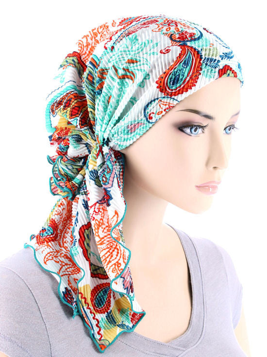 BELLA-742#The Bella Scarf Plisse Multi Color Paisley