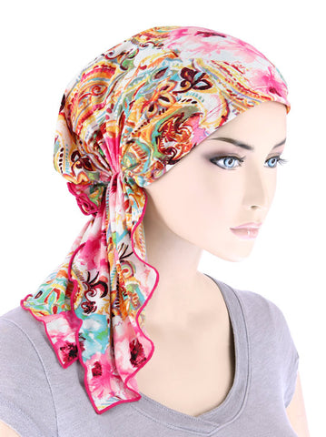 BELLA-752#The Bella Scarf Rose Floral Turquoise Paisley