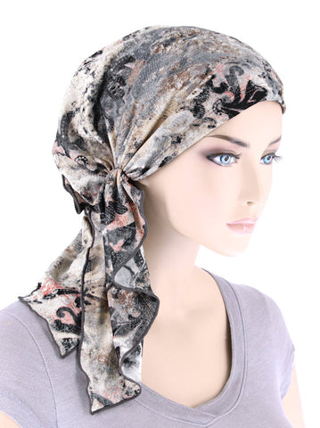 BELLA-753#The Bella Scarf Gray Distressed Vintage Floral
