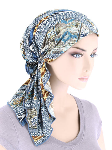 BELLA-754#The Bella Scarf Blue Beige Animal Stripe