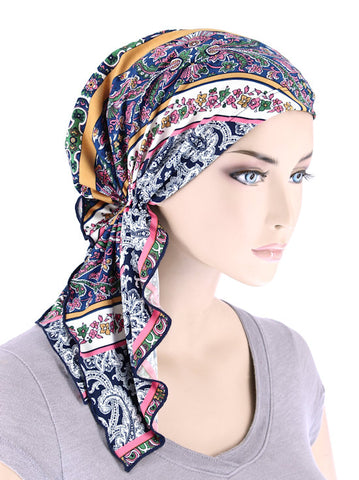 BELLA-755#The Bella Scarf Multi Stripe Floral Paisley