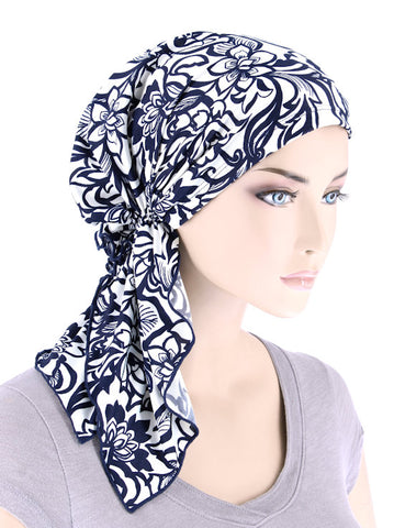 BELLA-756#The Bella Scarf Navy Blue White Floral