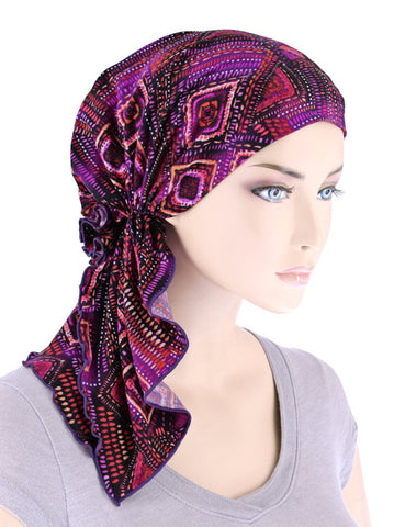 BELLA-758#The Bella Scarf Purple Violet Geometric