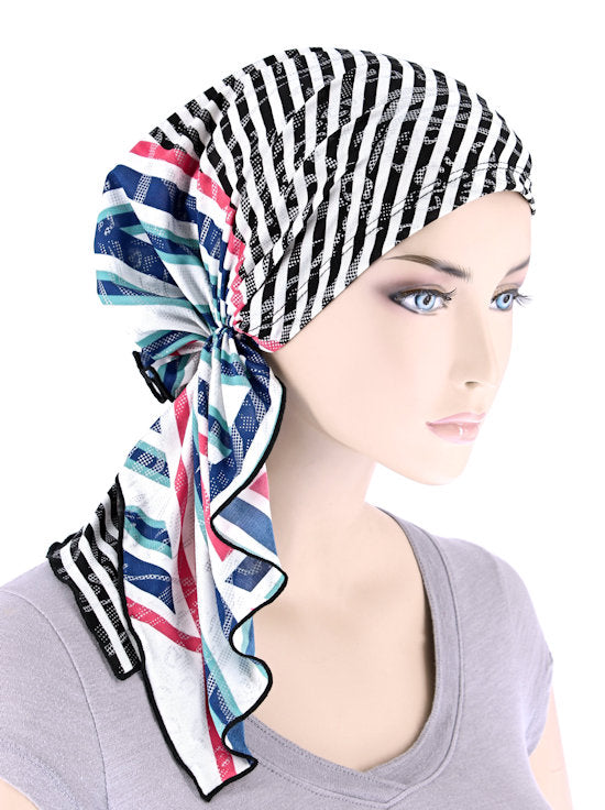 BELLA-759#The Bella Scarf Multi Black Stripe Geometric